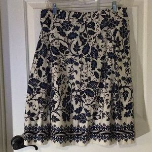 Talbots a-line midi skirt cream black blue 12